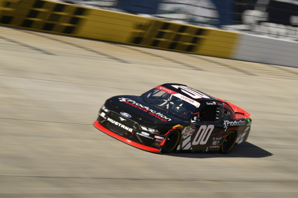 Driver Cole Custer (00) comes out of turn one during stage one of the  NASCAR Xfinity Series auto race, Saturday, Oct. 5, 2019, in Dover, Del. (AP Pho