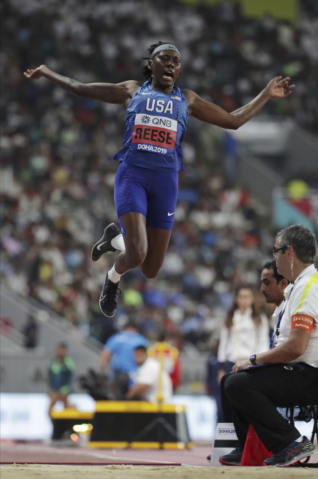 Brittney Reese, of the United States, competes in the women's long jump qualification at the World Athletics Championships in Doha, Qatar, Saturday, O
