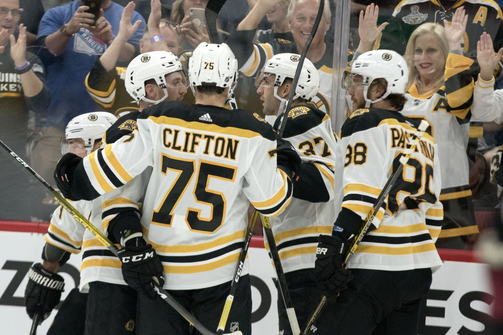 RETRANSMISSION TO CORRECT GOAL SCORED BY BRAD MARCHAND - Boston Bruins' players Connor Clifton (75) Matt Grzelcyk (48) Brad Marchand (63) David Pastrn