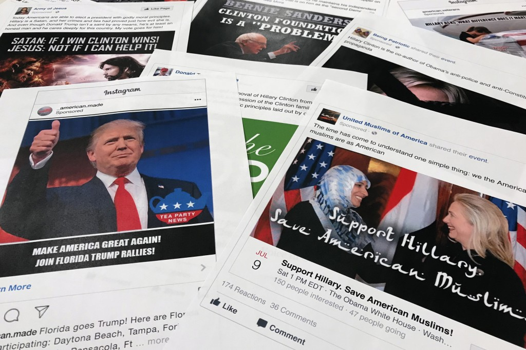 FILE - In this Nov. 1, 2017, file photo, Some of the Facebook and Instagram ads linked to a Russian effort to disrupt the American political process a