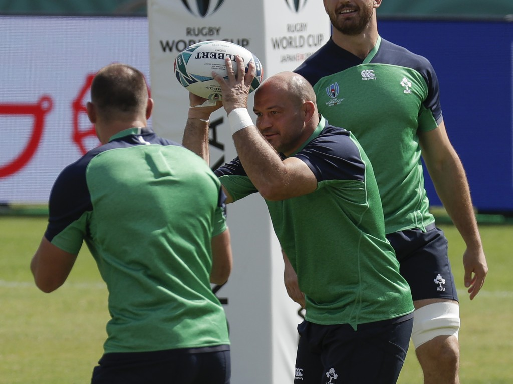 Ireland rugby team captain Rory Best prepares to pass the ball during training for their Rugby World Cup Pool A game at the Fukuoka Hakatanomori Stadi...