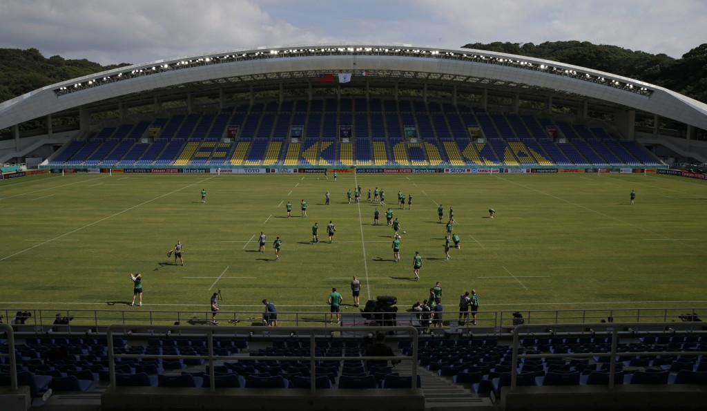 Ireland rugby team players train during for their Rugby World Cup Pool A games at the Fukuoka Hakatanomori Stadium in Fukuoka, Japan, Friday, Oct. 11,...