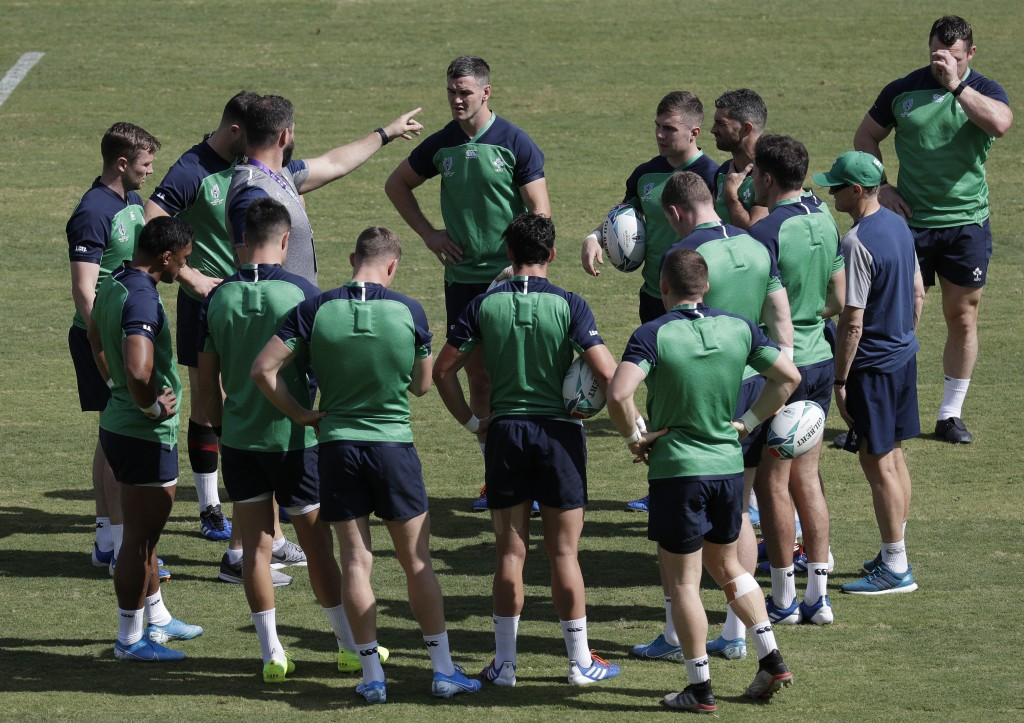 Ireland rugby team players gather during training for their Rugby World Cup Pool A games at the Fukuoka Hakatanomori Stadium in Fukuoka, Japan, Friday...