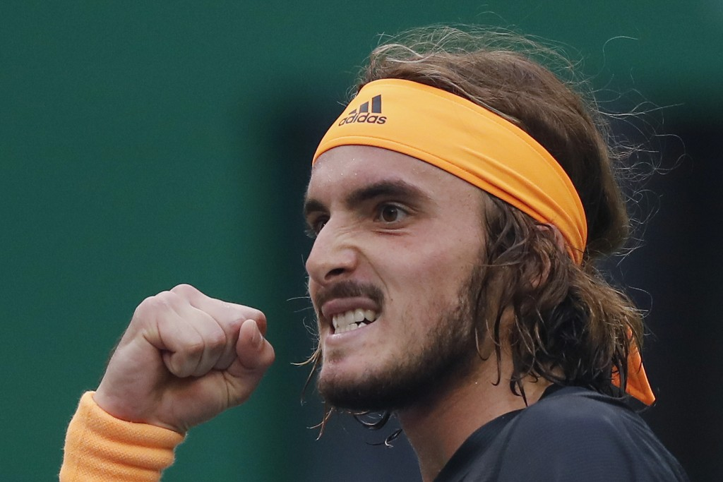 Stefanos Tsitsipas of Greece reacts as he plays against Novak Djokovic of Serbia during the men's singles quarterfinals match at the Shanghai Masters