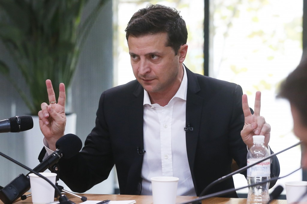 Ukrainian President Volodymyr Zelenskiy speaks during talks with journalists in Kyiv, Ukraine, Thursday, Oct. 10, 2019. Ukrainian President is holding...