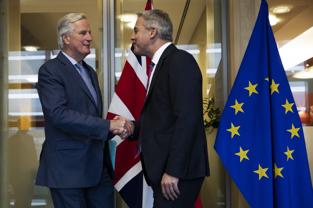 UK Brexit secretary Stephen Barclay, right, is welcomed by European Union chief Brexit negotiator Michel Barnier before their meeting at the European ...