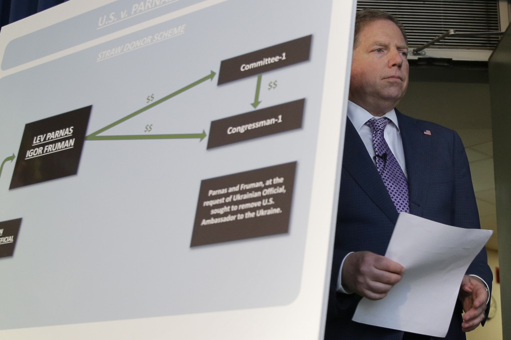 U.S. Attorney for the Southern District of New York Geoffrey Berman arrives for a news conference in New York, Thursday, Oct. 10, 2019. Two Florida bu...
