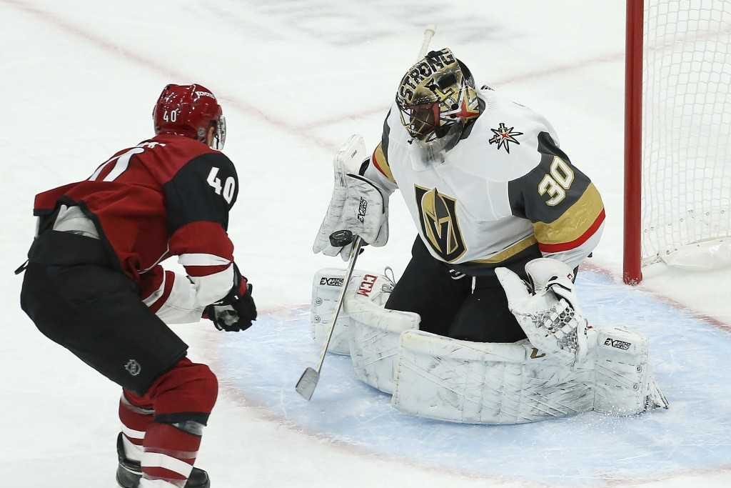 Arizona Coyotes right wing Michael Grabner (40) has his breakaway shot stopped by Vegas Golden Knights goaltender Malcolm Subban during the first peri