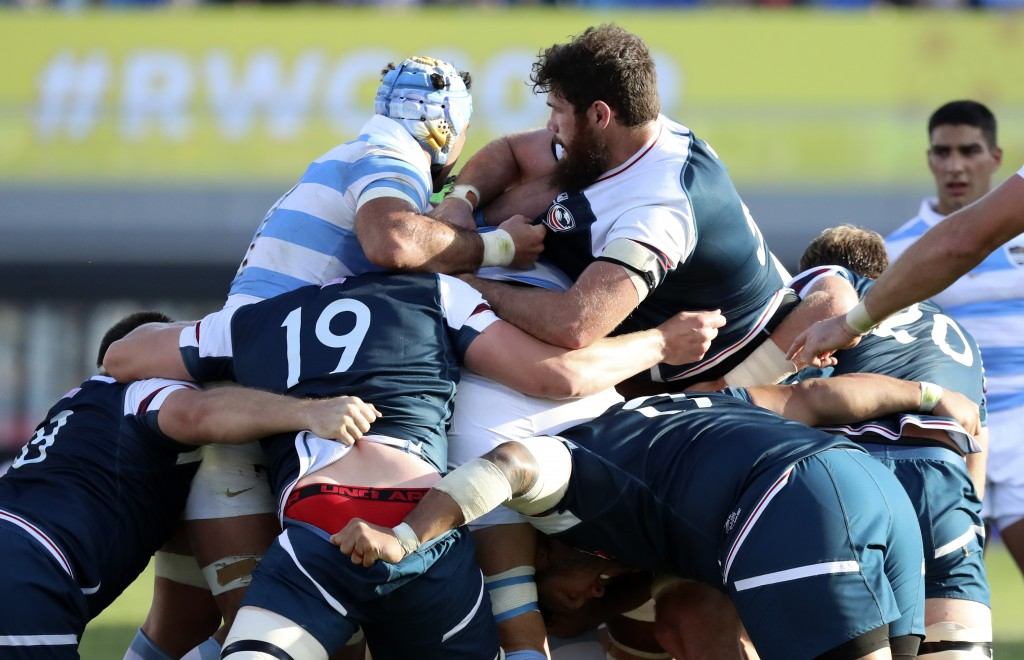 United States and Argentina players push in a scrum during the Rugby World Cup Pool C game at Kumagaya Rugby Stadium between Argentina and the United ...
