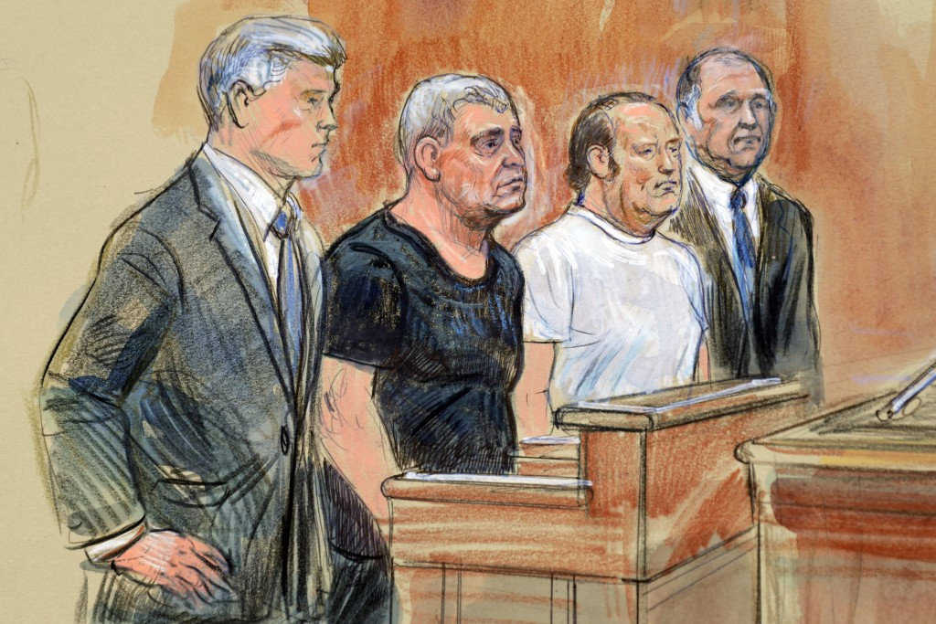 This courtroom sketch depicts from left, attorney Kevin Downing, Lev Parnas, Igor Fruman, and attorney Thomas Zehnle standing before U.S. Judge Michae