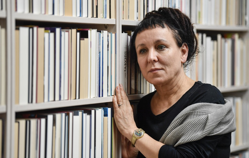 Polish writer and Nobel Prize winner Olga Tokarczuk poses for a portrait after a press conference in Duesseldorf, Germany, Friday, Oct. 11, 2019. Olga
