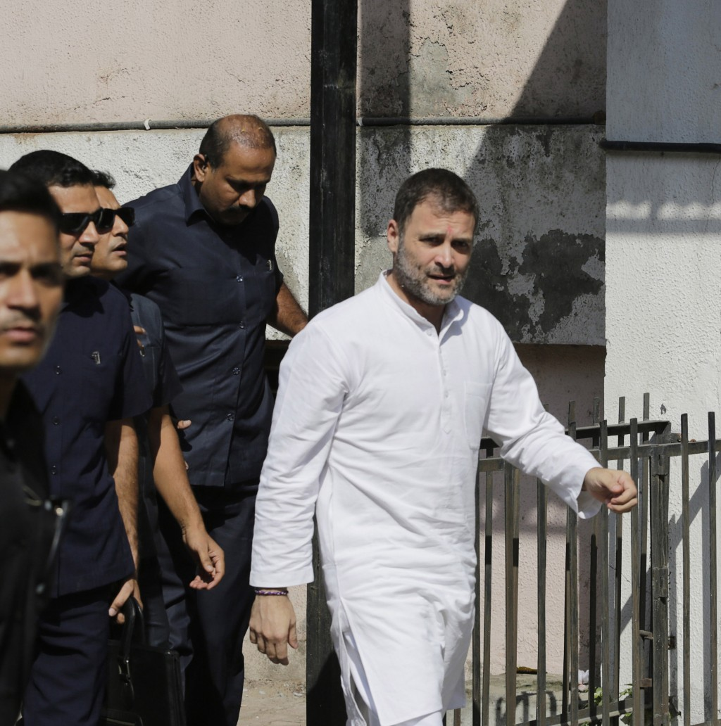 India's opposition Congress party leader Rahul Gandhi arrives at a court in Ahmadabad, India, Friday, Oct. 11, 2019. Gandhi appeared before a court he