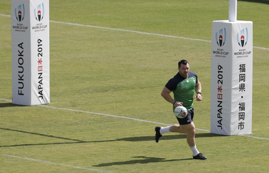 Ireland rugby player Cian Healy trains for their Rugby World Cup Pool A game at the Fukuoka Hakatanomori Stadium in Fukuoka, Japan, Friday, Oct. 11, 2