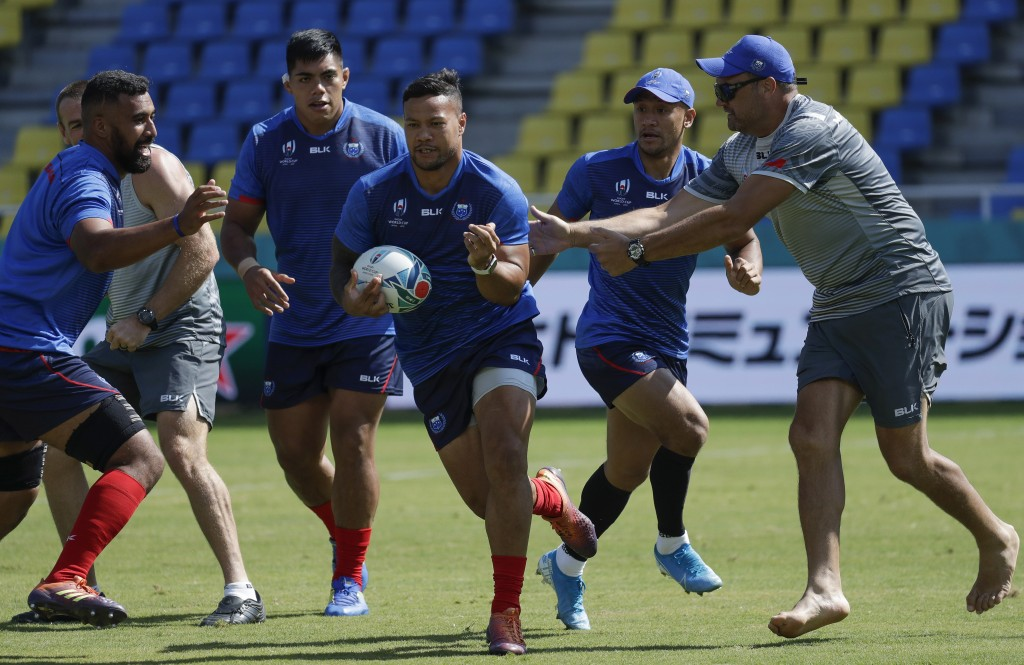 Samoa rugby team players train for the Rugby World Cup Pool A games in at the Fukuoka Hakatanomori Stadium in Fukuoka, Japan, Friday, Oct. 11, 2019. S...