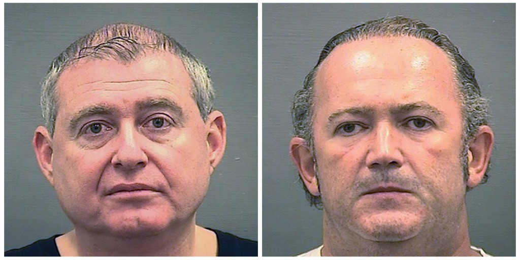 This combination of Wednesday, Oct. 9, 2019, photos provided by the Alexandria Sheriff's Office shows booking photos of Lev Parnas, left, and Igor Fru...