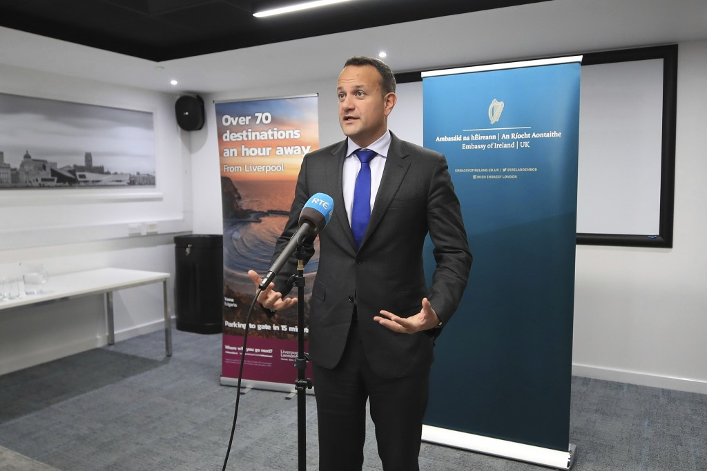 Ireland's Taoiseach Leo Varadkar speaks to the media following private talks with Britain's Prime Minister Boris Johnson, at Liverpool Airport, Englan...