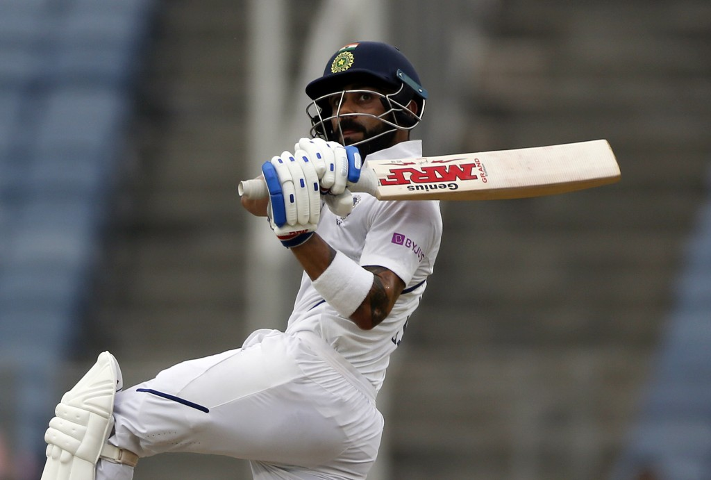 India's captain Virat Kohli bats during the second cricket test match between India and South Africa in Pune, India, Thursday, Oct. 10, 2019. (AP Phot...