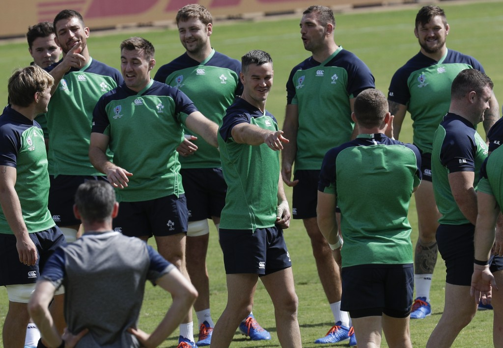 Ireland rugby player Johnny Sexton, center, gestures during their training session for their Rugby World Cup Pool A game at the Fukuoka Hakatanomori S...
