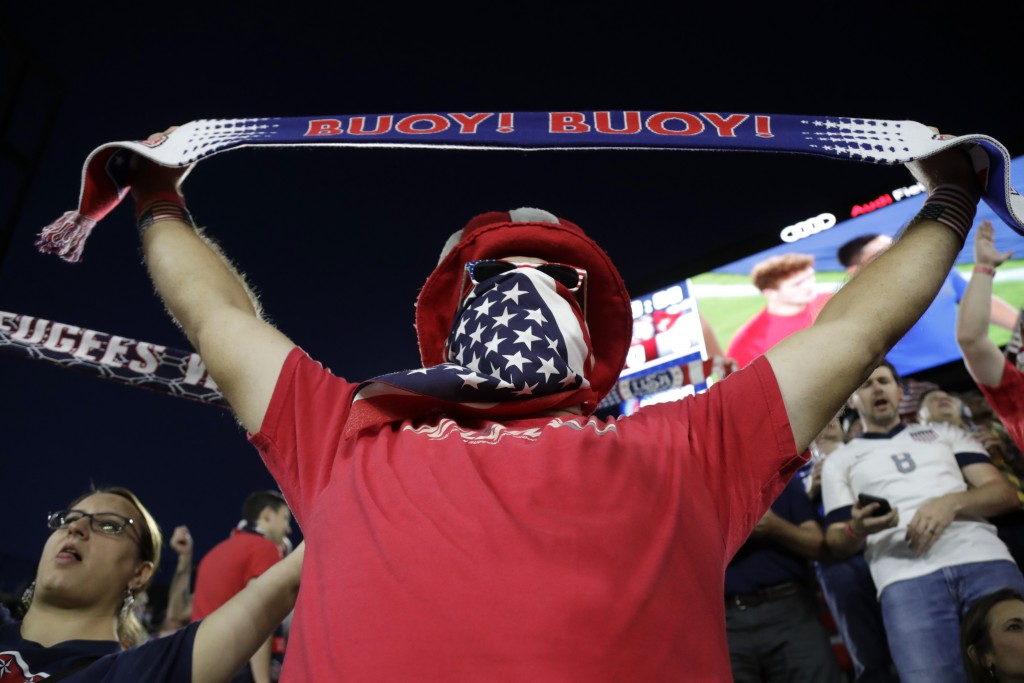 A U.S. supporter cheers prior to a CONCACAF Nations League soccer match between the United States and Cuba on Friday, Oct. 11, 2019, in Washington. (A...