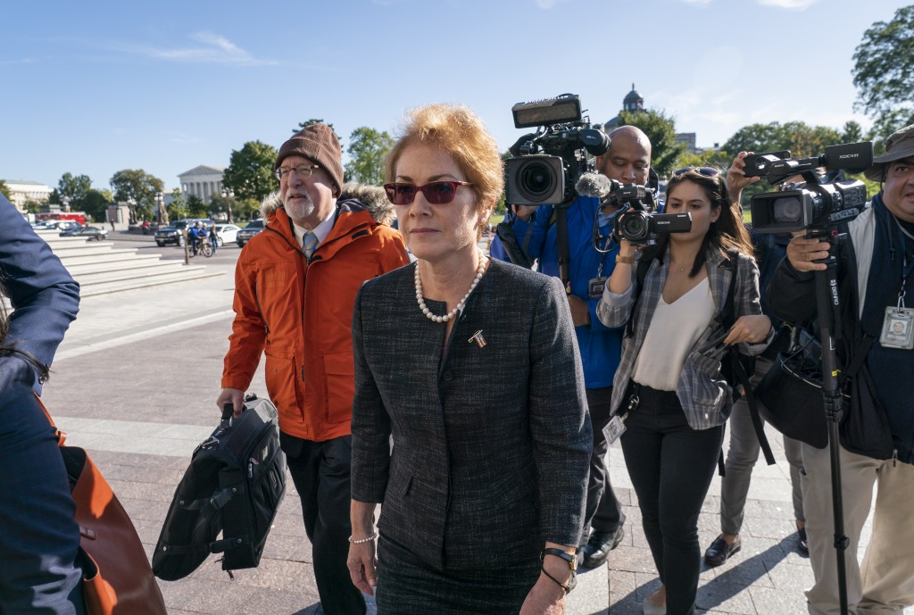 Former U.S. ambassador to Ukraine Marie Yovanovitch, arrives on Capitol Hill, Friday, Oct. 11, 2019, in Washington, as she is scheduled to testify bef