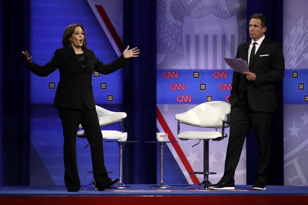 Democratic presidential candidate Sen. Kamala Harris, D-Calif., answers a question as CNN moderator Chris Cuomo listens during the Power of our Pride ...