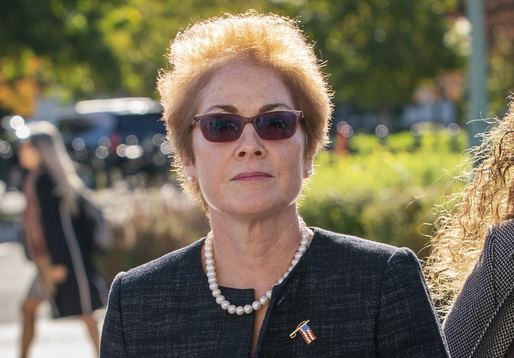 Former U.S. ambassador to Ukraine Marie Yovanovitch, arrives on Capitol Hill, Friday, Oct. 11, 2019, in Washington, as she is scheduled to testify bef...
