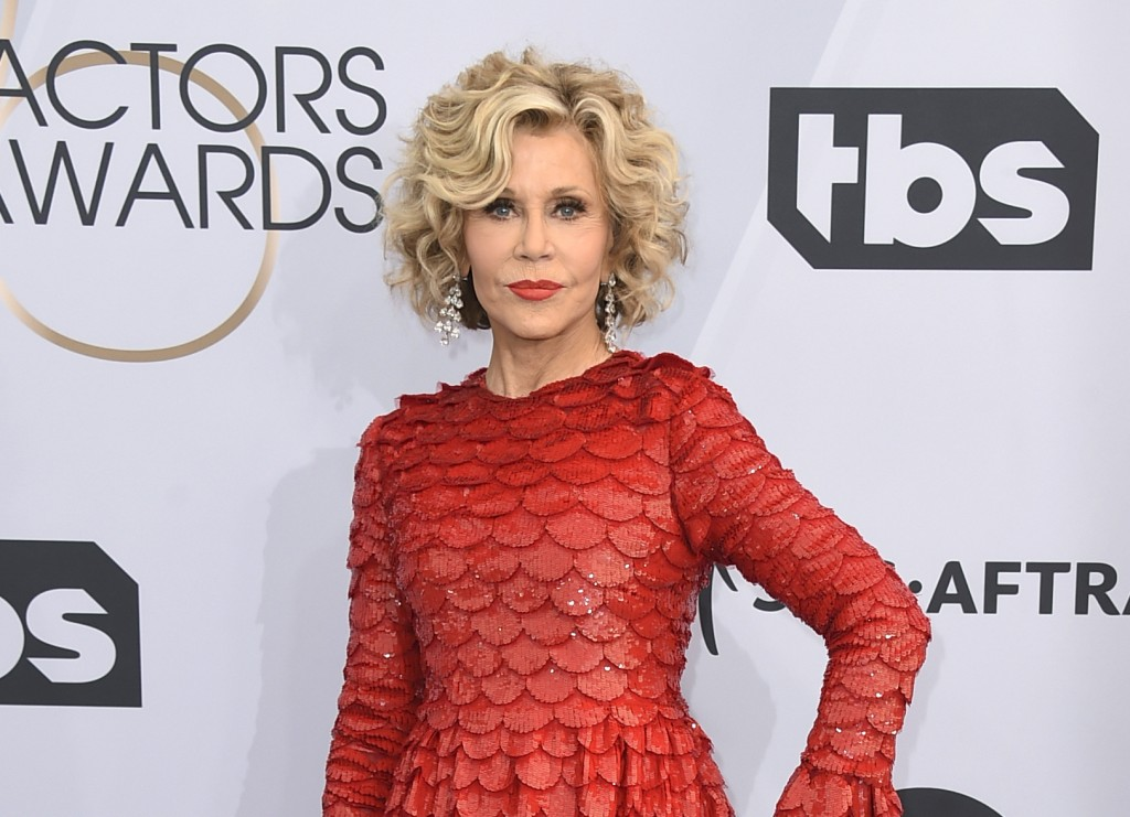 FILE - This Jan. 27, 2019 file photo shows Jane Fonda at the 25th annual Screen Actors Guild Awards in Los Angeles. Fonda was arrested at the U.S. Cap...