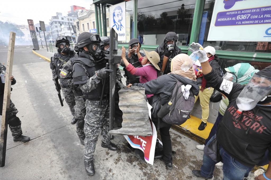 Anti-government demonstrators clash with police in Quito, Ecuador, Friday, Oct. 11, 2019. Protests, which began when President Lenin Moreno's decision...