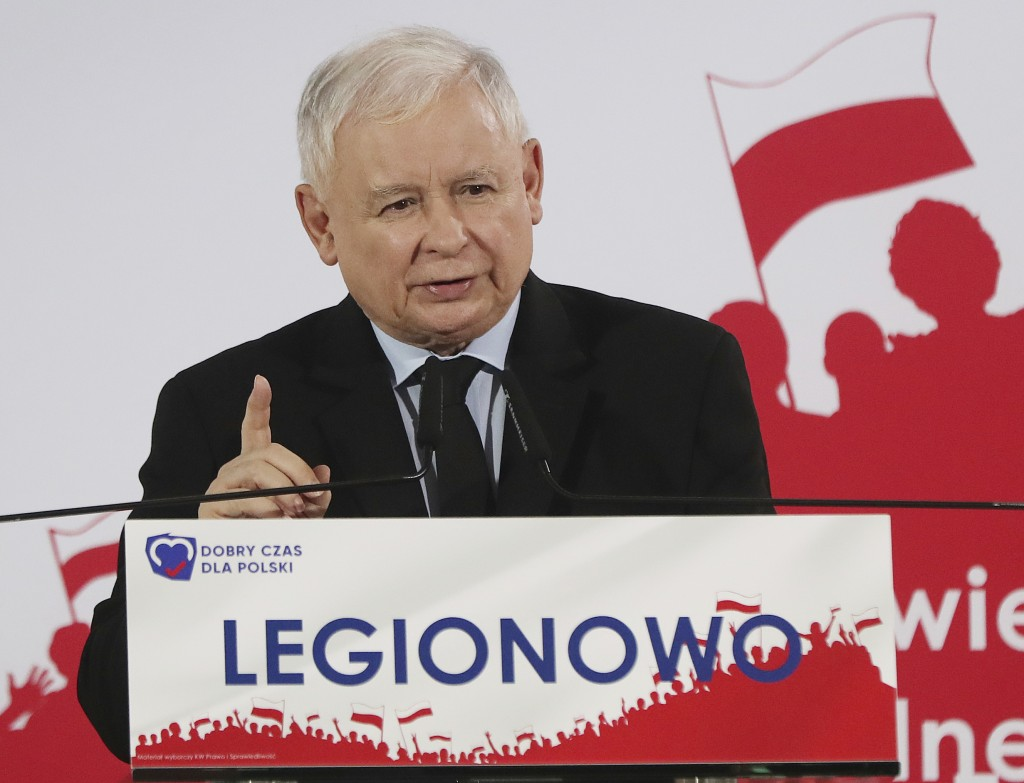 In this photo taken Thursday Sept. 26, 2019 Poland's ruling right-wing party leader Jaroslaw Kaczynski speaks at a convention Legionowo, Poland, ahead...