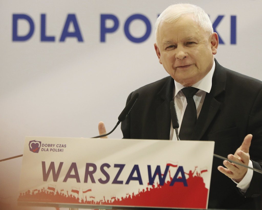 In this photo taken Tuesday Oct. 8, 2019 Poland's ruling right-wing party leader Jaroslaw Kaczynski speaks at a convention in Warsaw, Poland. ahead of...