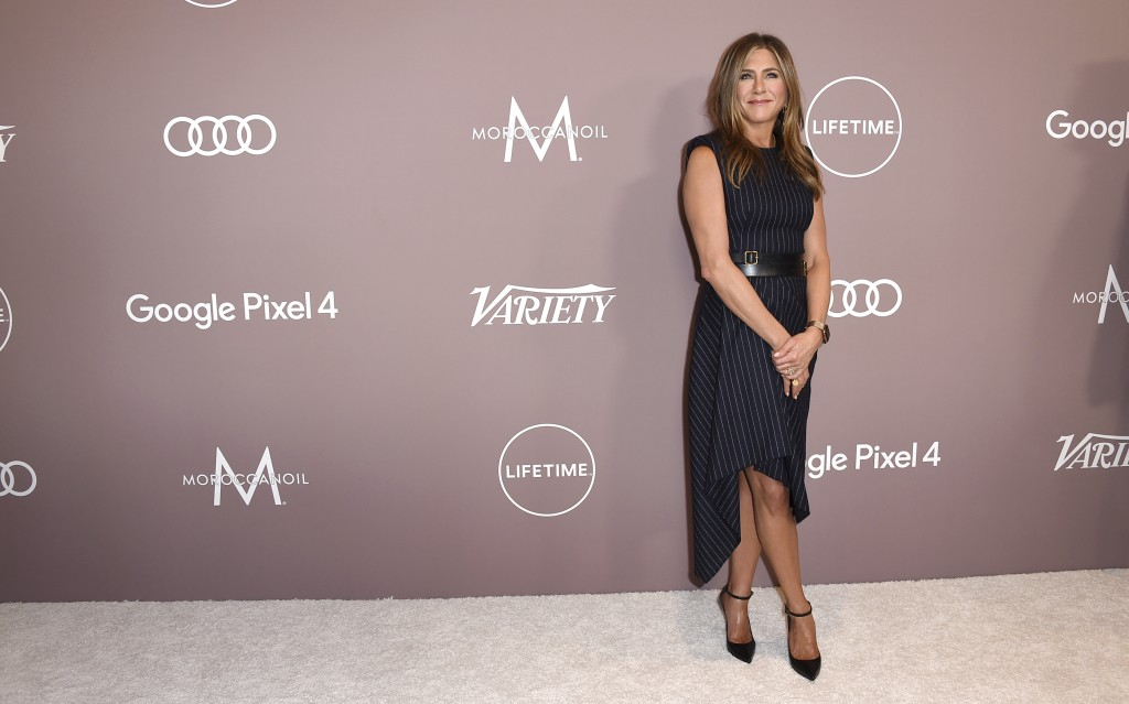 Jennifer Aniston arrives at Variety's Power of Women on Friday, Oct. 11, 2019, at the Beverly Wilshire hotel in Beverly Hills, Calif. (Photo by Jordan