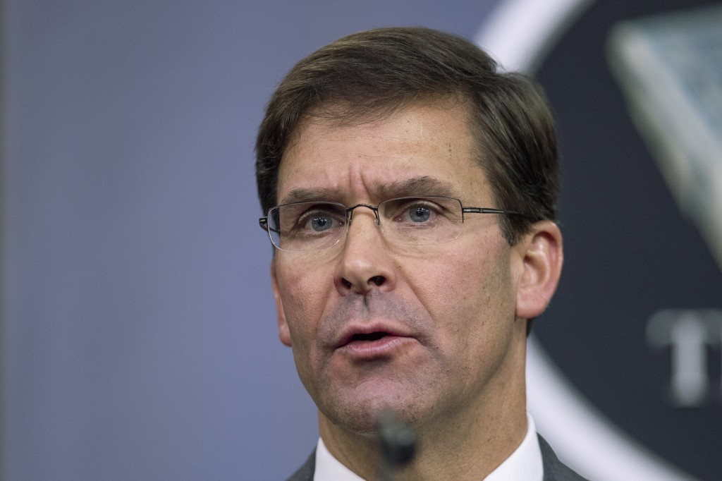 """FILE - In this Aug. 28, 2019, file photo, Secretary of Defense Mark Esper speaks to reporters during a briefing at the Pentagon. Esper says the """"impul..."""