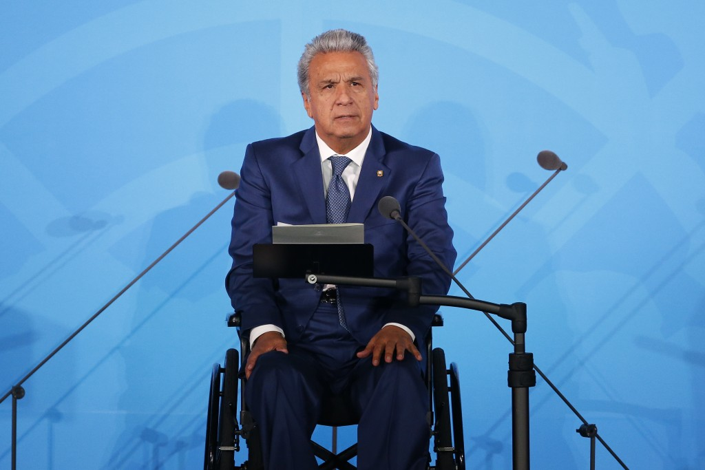 FILE - In this Sept. 23, 2019 file photo, Ecuador's President Lenin Moreno addresses the Climate Action Summit in the United Nations General Assembly,