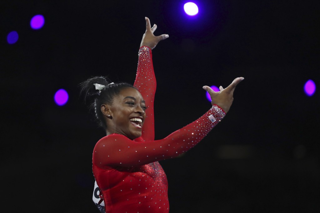 Gold medalist Simone Biles of the United States performs on the vault in the women's apparatus finals at the Gymnastics World Championships in Stuttga