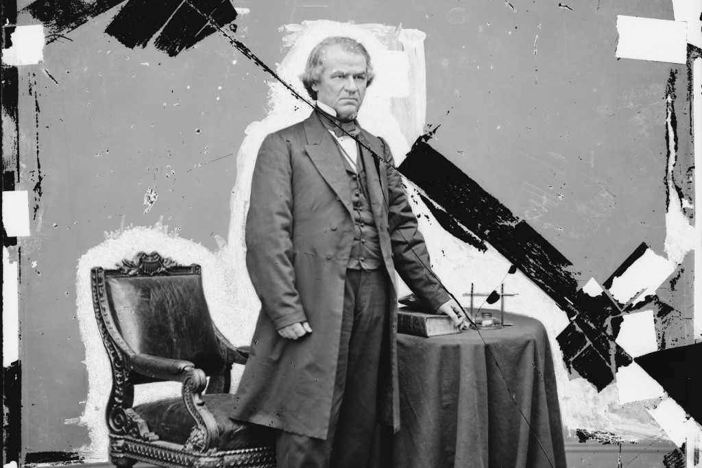 This 1865-1880 photo made available by the Library of Congress shows a damaged glass negative of President Andrew Johnson. Johnson, a Democrat, became...