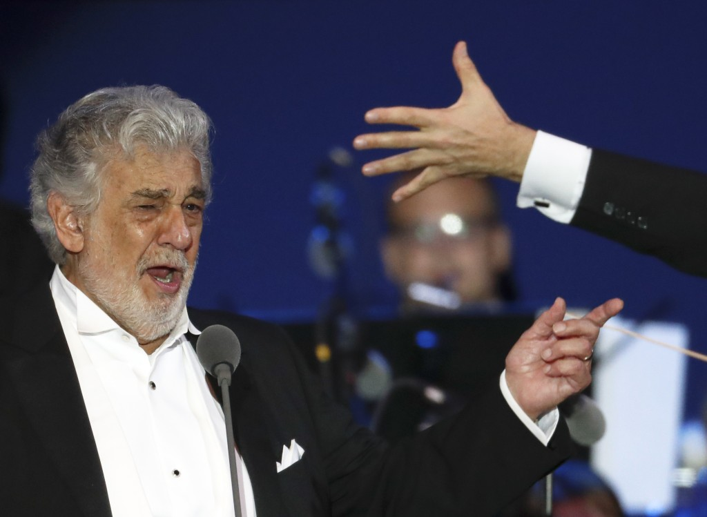 FILE - In this file photo taken on Aug. 28, 2019, Opera star Placido Domingo performs during a concert in Szeged, Hungary. The 78-year-old singer who