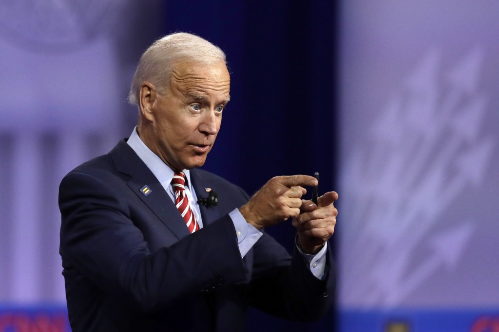 In this Oct. 10, 2019, photo, Democratic presidential candidate former Vice President Joe Biden speaks during the Power of our Pride Town Hall in Los ...