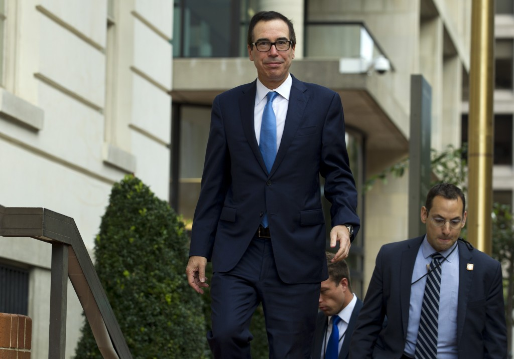 Treasury Secretary Steven Mnuchin arrives to the Office of the United States Trade Representative were he will have a minister-level trade meetings wi...