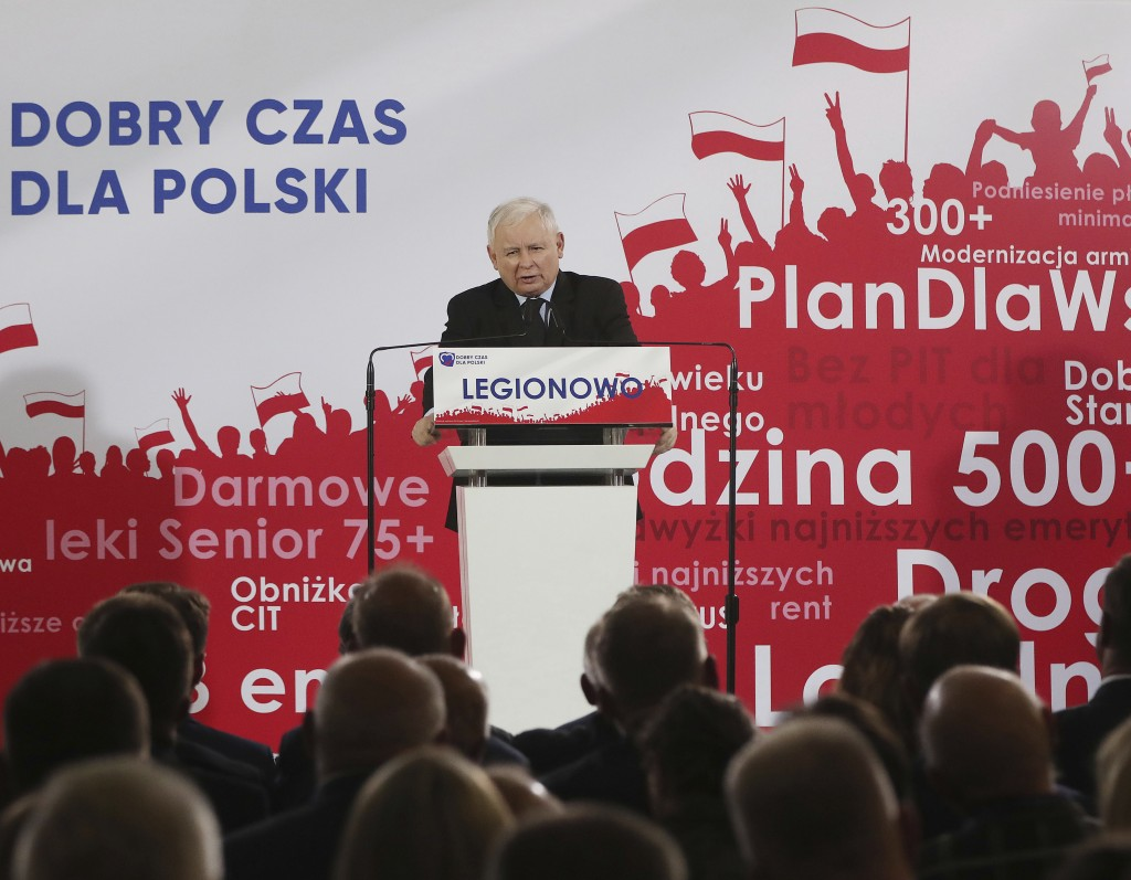 In this photo taken Thursday Sept. 26, 2019 Poland's ruling right-wing party leader Jaroslaw Kaczynski speaks at a convention in Legionowo, Poland, ah