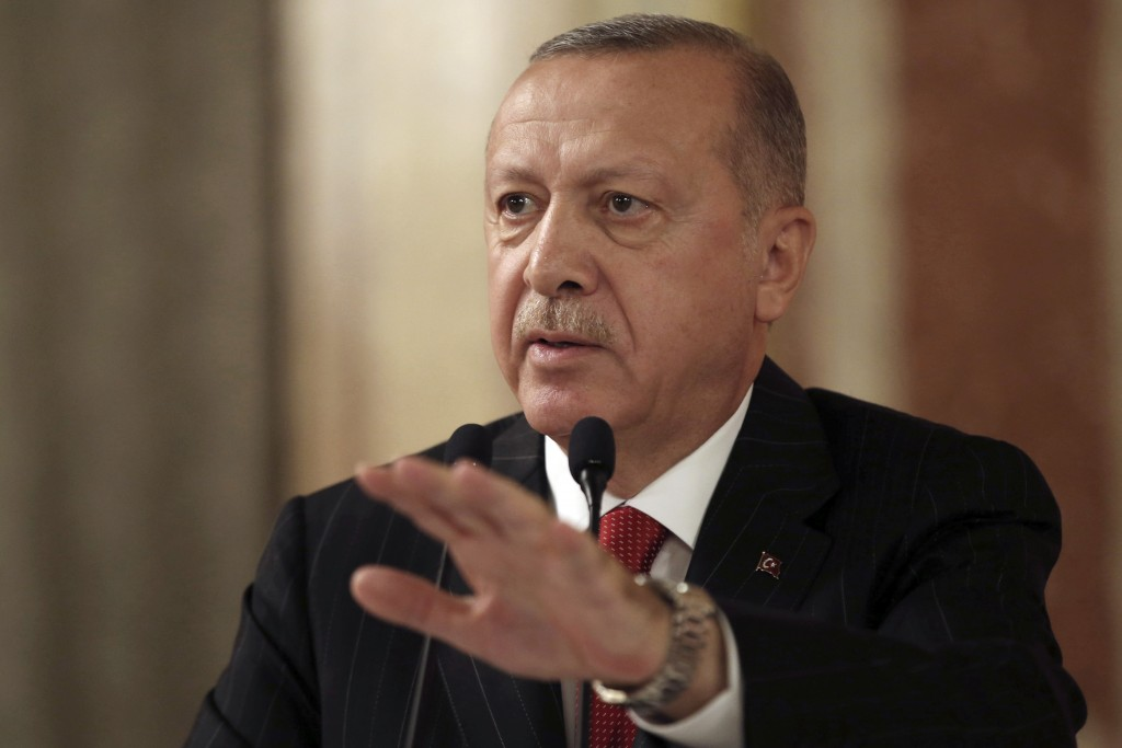 """Turkey's President Recep Tayyip Erdogan addresses a conference of parliament speakers in Istanbul, Friday, Oct. 11, 2019. Erdogan says his county """"wil..."""