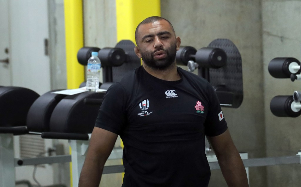 Japan's Michael Leitch lifts weights during a training session in Tokyo, Japan, Monday, Oct. 7, 2019. Japan will play against Scotaland during their R