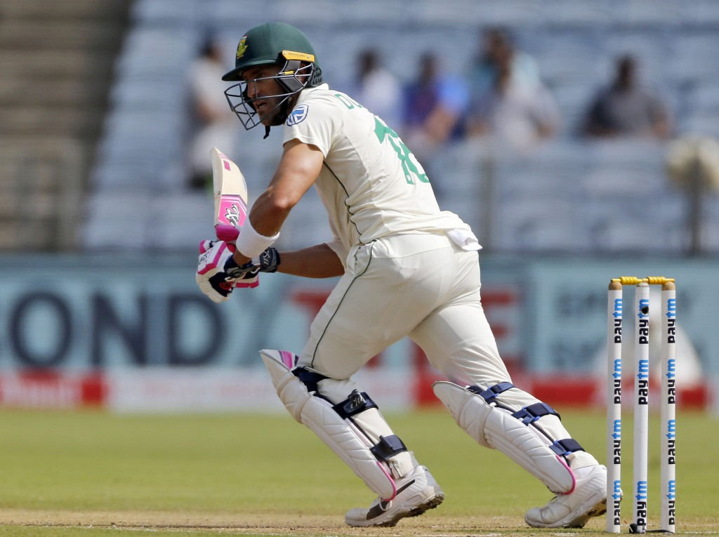 South African cricketer Faf du Plessis bats during the third day of the second cricket test match between India and South Africa in Pune, India, Satur...