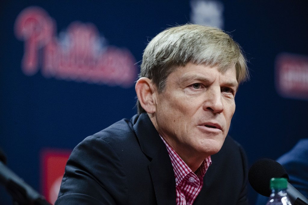 Philadelphia Phillies managing partner John Middleton speaks with members of the media during a news conference in Philadelphia, Friday, Oct. 11, 2019...