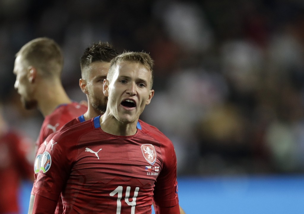 Czech Republic's Jakub Jankto reacts during the Euro 2020 group A qualifying soccer match between Czech Republic and England at the Sinobo stadium in