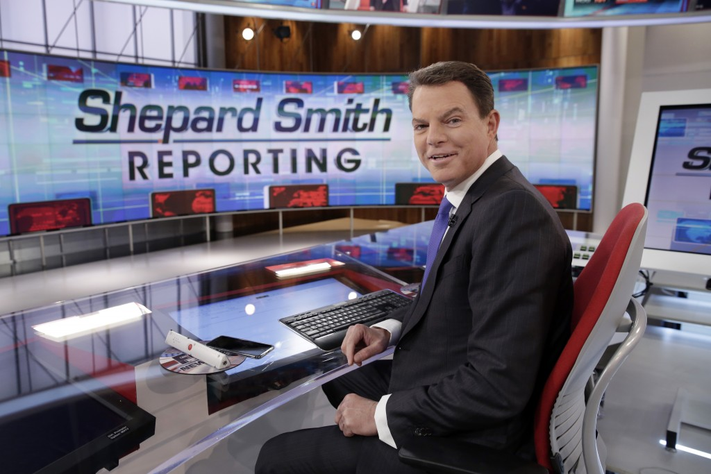 """FILE - In this Jan. 30, 2017, file photo, Fox News Channel chief news anchor Shepard Smith appears on the set of """"Shepard Smith Reporting"""" in New York..."""