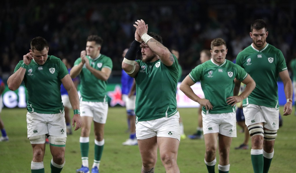 Ireland players celebrate after defeating Samoa 47-5 in their Rugby World Cup Pool A game at Fukuoka Hakatanomori Stadium in Fukuoka, Japan, Saturday,...