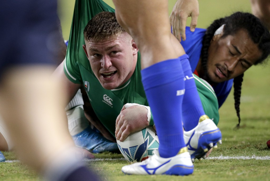 Ireland's Tadhg Furlong reacts after scoring a try during the Rugby World Cup Pool A game at Fukuoka Hakatanomori Stadium between Ireland and Samoa, i...