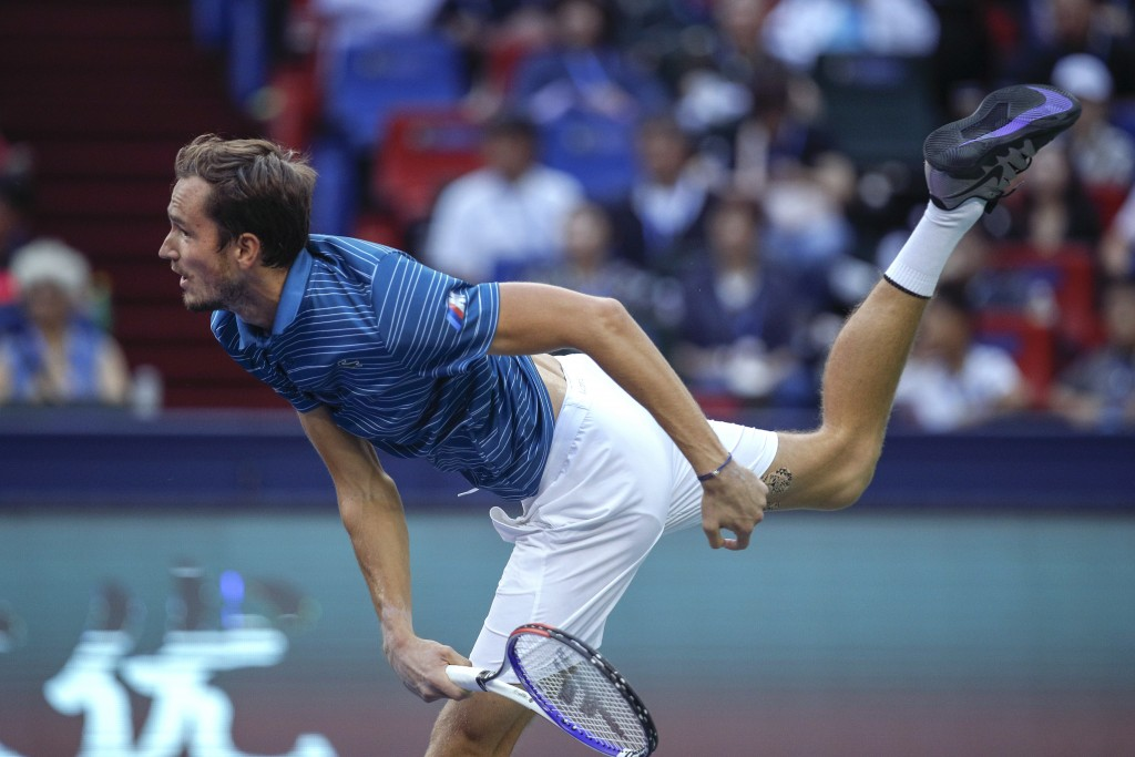 Daniil Medvedev of Russia serves against Stefanos Tsitsipas of Greece during their men's singles semifinals match at the Shanghai Masters tennis tourn