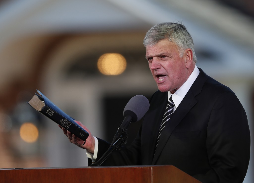 FILE - In this March 2, 2018 file photo, Pastor Franklin Graham speaks during a funeral service at the Billy Graham Library for the Rev. Billy Graham,...
