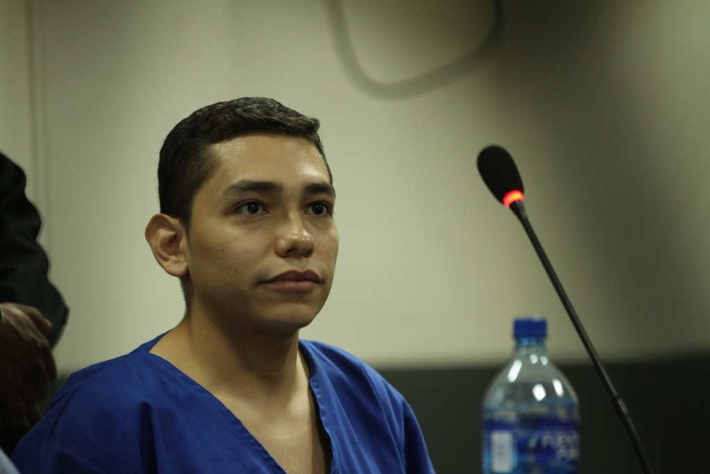 FILE - In this Oct. 11, 2019 file photo, Orlando Tercero appears in court during his trial in Managua, Nicaragua. Moreno is accused of killing 22-year...